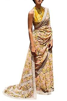 Pink & Mustard Printed Saree Set by Varun Bahl