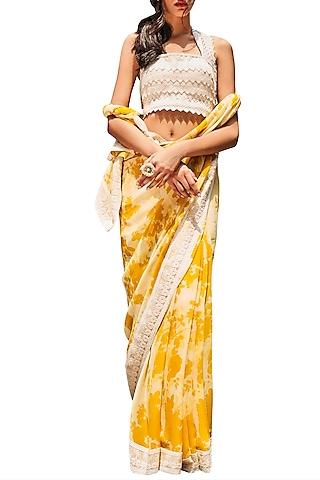 Yellow & Ivory Printed Saree Set by Varun Bahl