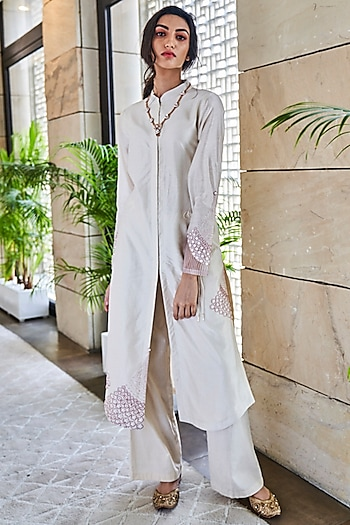 Ivory Embroidered Kurta With Pants by Varun Bahl
