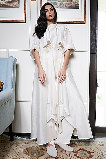 Ivory Embroidered Jacket With Smocked Tunic & Pants by Varun Bahl