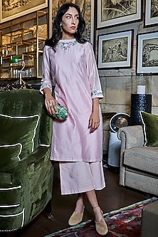 Pink Embroidered Tunic With Pants by Varun Bahl