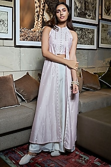 Bright Pink Crop Top With Attached Jacket & Ivory Palazzo Pants by Varun Bahl