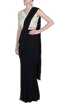 Black and ivory pre stitched saree set by Varun Bahl
