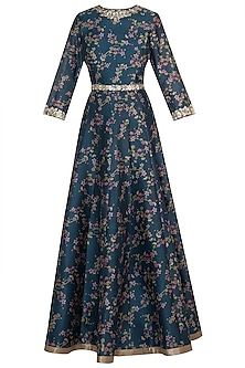 Aqua blue printed anarkali set by Varun Bahl