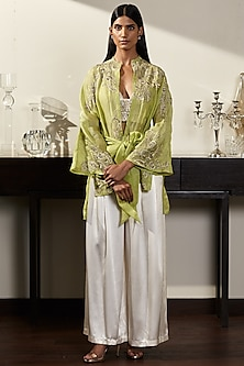 Green Embroidered Kimono Jacket With Trousers & Bustier by Varun Bahl