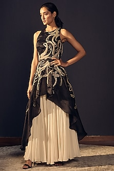 Black Embroidered Gown With Ivory Sharara Pants by Varun Bahl