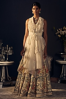 Ivory Embroidered Cape Lehenga Set by Varun Bahl