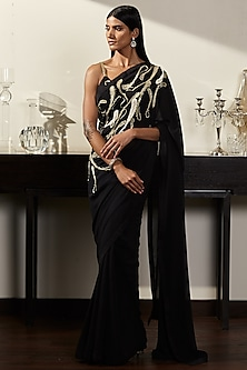 Black Hand Embroidered Saree Set by Varun Bahl