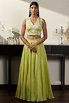 Green Embroidered Blouse & Skirt by Varun Bahl