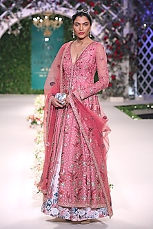 Old Rose Floral Embroidered Anarkali Kurta and Skirt Set by Varun Bahl