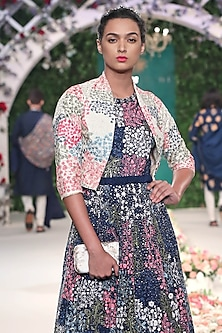 Midnight Blue Floral Embroidered Gown and Bolero Set by Varun Bahl