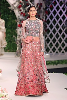 Deep Old Rose Floral Embroidered Lehenga Set by Varun Bahl