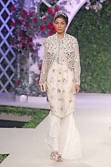 Ivory Floral Embroidered Motifs Tunic, Bolero and Pants Set by Varun Bahl