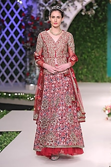 Maroon Floral Beads Embroidered Lehenga Set by Varun Bahl