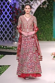 Maroon Floral Beads Embroidered Lehenga Set by Varun Bahl