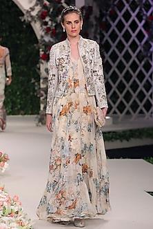 Ivory Floral Work Anarkali, Jacket and Churidaar Pants Set by Varun Bahl
