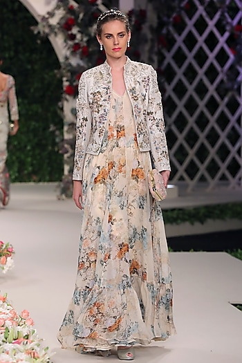 Ivory Floral Work Anarkali, Jacket and Churidaar Pants Set by Varun Bahl