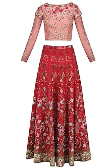 Red Beads and Sequins Floral Embroidered Lehenga Set by Varun Bahl