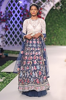 Midnight Blue Floral Thread and Beads Embroidered Lehenga Set by Varun Bahl