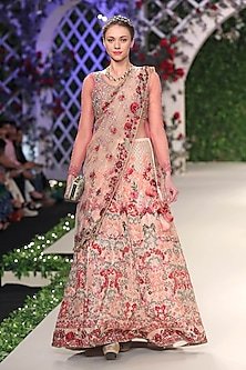Pale Pink Floral Thread and Beads Embroidered Lehenga Set by Varun Bahl