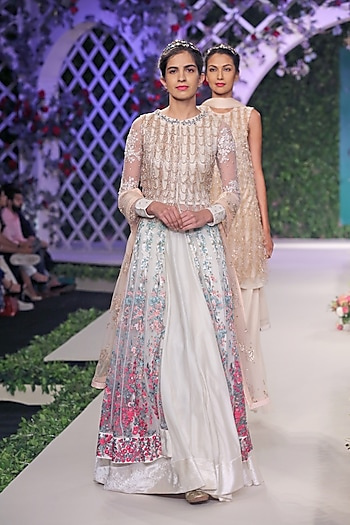 Ivory and Gold Beads Hangings Anarkali and Skirt Set by Varun Bahl