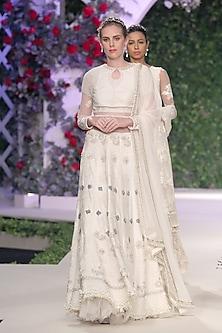 Ivory Floral Thread Embroidered Lehenga Set by Varun Bahl