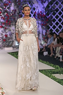 Ivory Floral Embroidered Lehenga, Blouse and Bustier Set by Varun Bahl