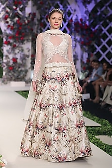 Ivory Floral Applique Work Lehenga Set by Varun Bahl