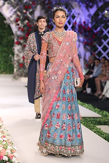 Blue Flared Embroidered Motifs Lehenga with Old Rose Blouse by Varun Bahl
