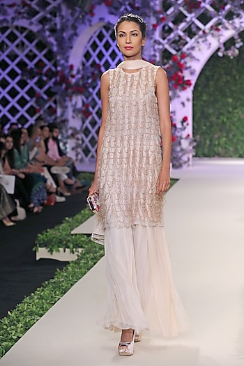 Ivory and Gold Beads Fringe Short Kurta and Farshi Set by Varun Bahl