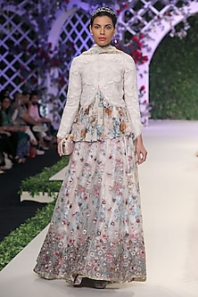 Ivory Floral Thread and Beads Embroidered Lehenga Set by Varun Bahl