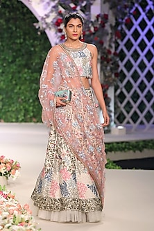 Ivory Floral Applique Work Lehenga Set with Pink Dupatta by Varun Bahl