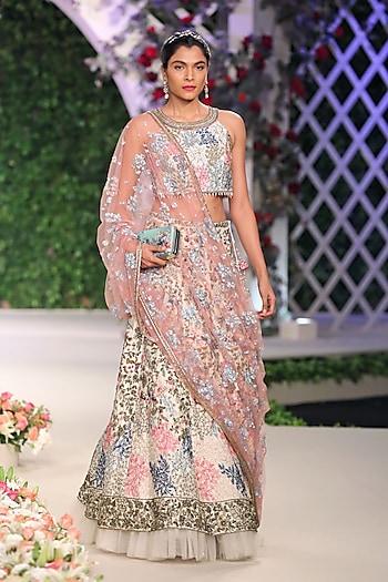 Ivory Floral Applique Work Lehenga Set with Pink Dupatta by Varun Bahl