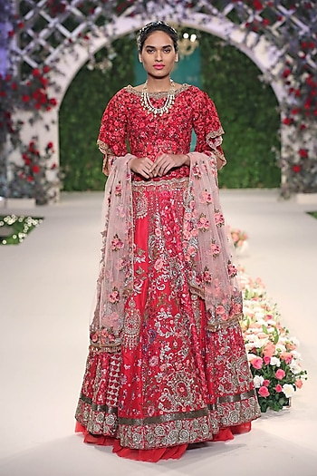 Red Beads and Sequins Floral Embroidered Motifs Lehenga Set by Varun Bahl