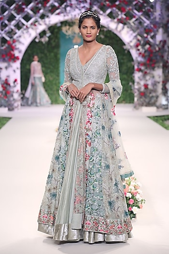 Sage Green Floral Embroidered Anarkali Set by Varun Bahl