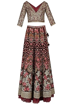 Maroon Floral Beads, Zardozi and Sequins Work Lehenga Set by Varun Bahl