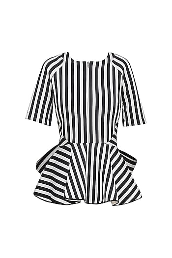 Black and White Stripe Print Bow Tie Up Top by Vineet Bahl