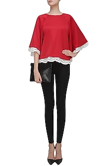 Red and Off White Embroidered Hem Cape Top by Vineet Bahl