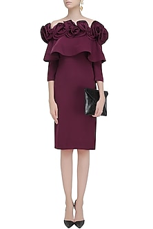Burgundy Ruffled Frill Detail Fitted Dress by Vineet Bahl