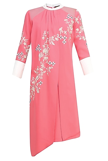 Pink Floral Embroidered Motifs Pleated Layered Tunic by Vineet Bahl