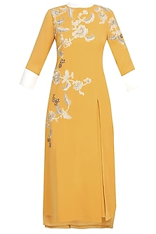 Mustard Yellow And Silver Floral Embroidered Motifs Kurta by Vineet Bahl