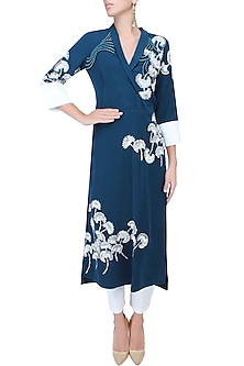 Navy Blue And Ivory Floral Embroidered Collared Kurta by Vineet Bahl
