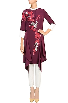 Wine, Red And White Floral Embroidered Motifs Tunic by Vineet Bahl