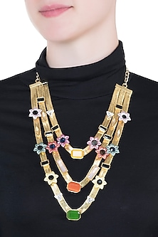 Gold plated multi colored 3 layered necklace by Valliyan by Nitya Arora