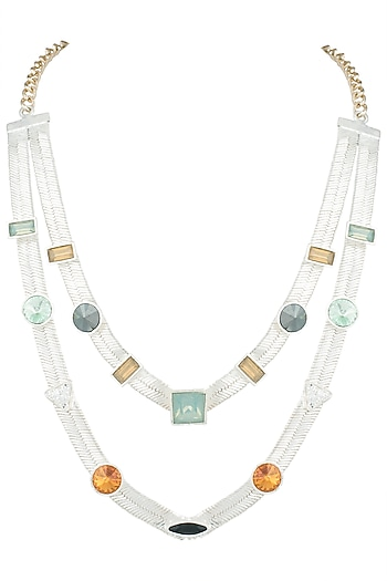 Silver plated multi colored layered necklace by Valliyan by Nitya Arora