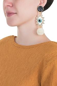 Gold plated evil eye dangler earrings by Valliyan by Nitya Arora