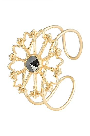 Gold plated stone floral cuff by Valliyan by Nitya Arora