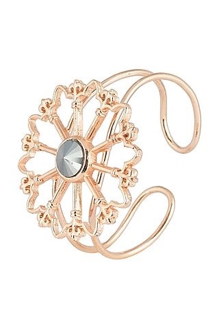 Rose gold plated stone floral cuff by Valliyan by Nitya Arora