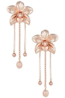 Rose gold plated orchid long earrings by Valliyan by Nitya Arora