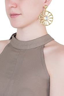 Gold plated wheel long earrings by Valliyan by Nitya Arora